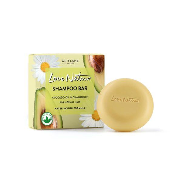 Твёрдый шампунь для нормальных волос с авокадо и ромашкой Love Nature